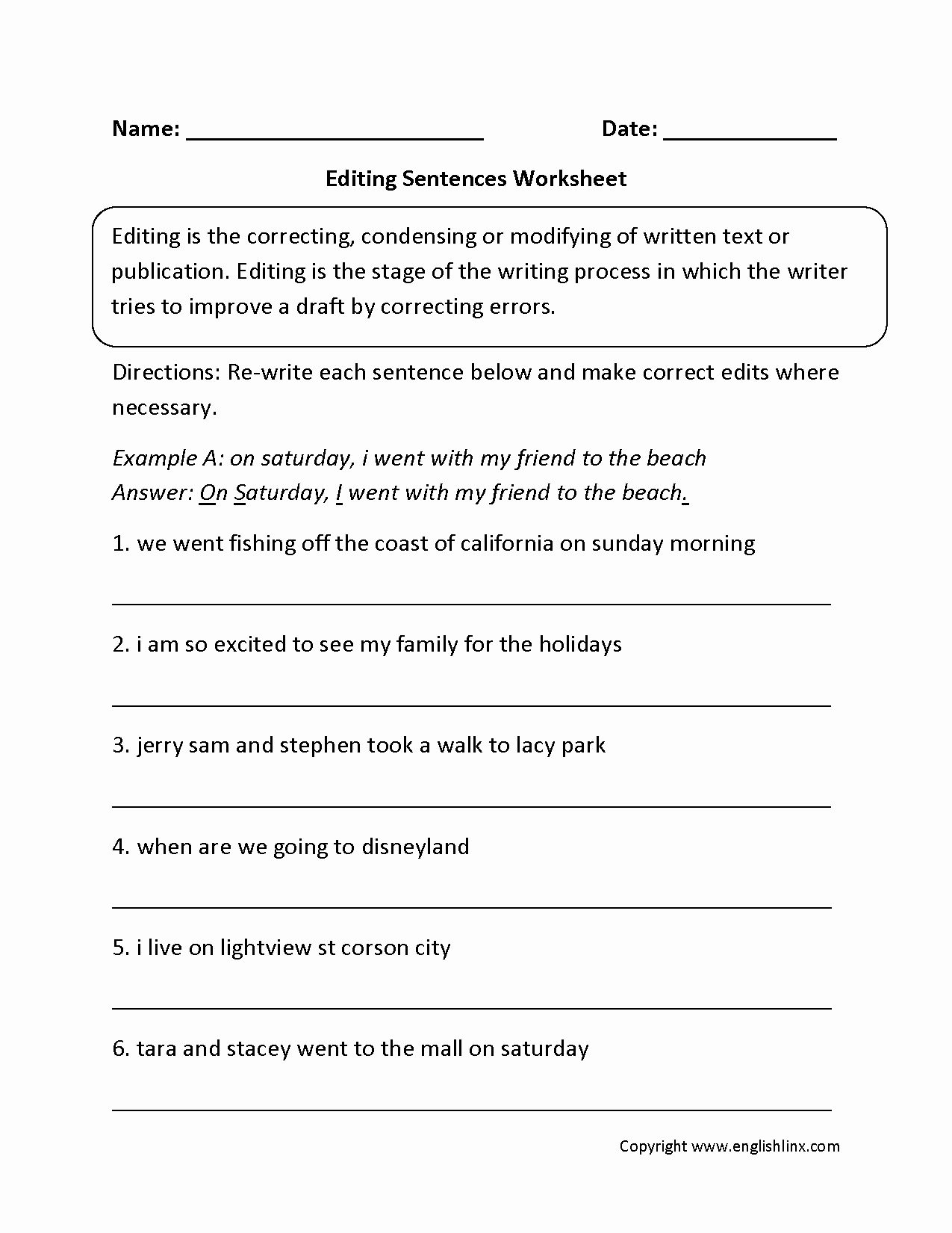 Editing and Proofreading Worksheets Fresh Grammar Editing Worksheets Grade 6 Diy Worksheet