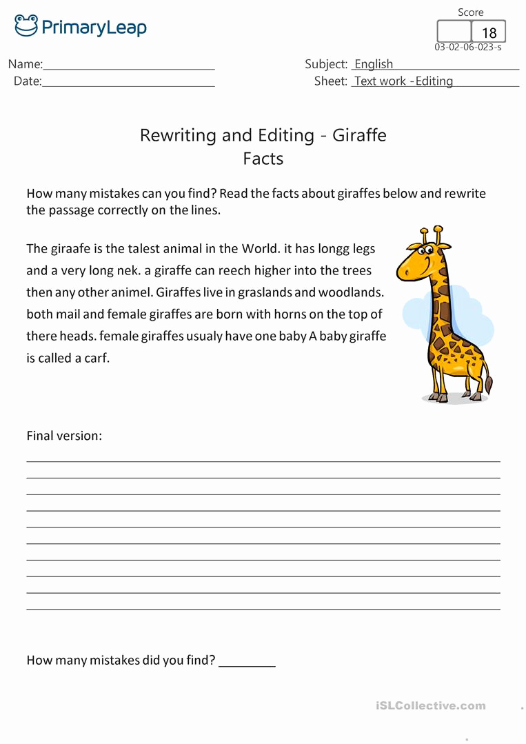 Editing and Proofreading Worksheets New Proofreading and Editing Worksheet