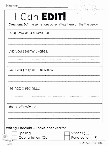 Editing Worksheets 3rd Grade Elegant 25 Third Grade Editing Worksheets