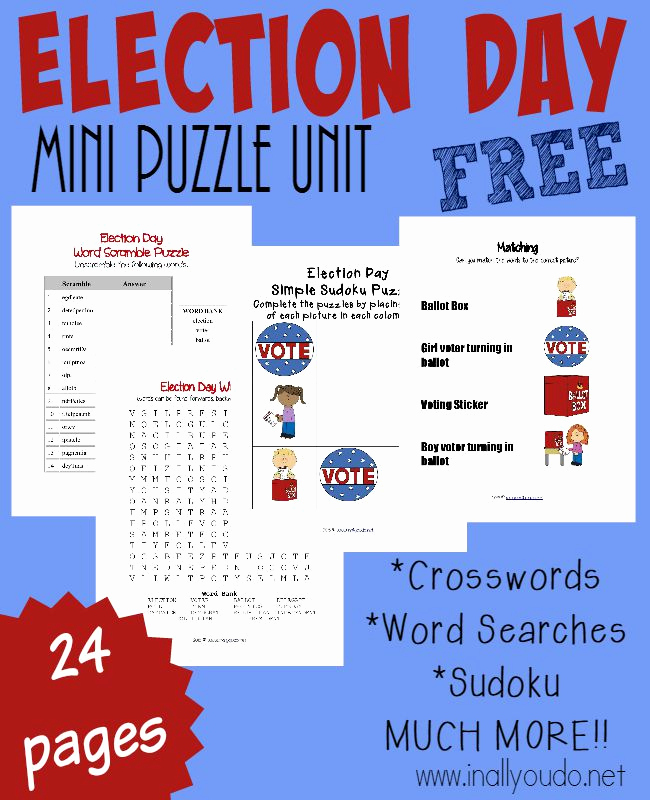 Election Day Worksheets Inspirational Free Election Day Puzzles & Activities
