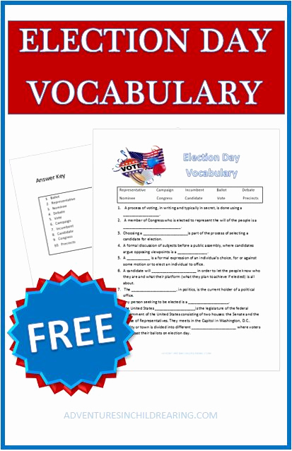 Election Day Worksheets Luxury Election Day Vocabulary and Vocabulary Worksheets On