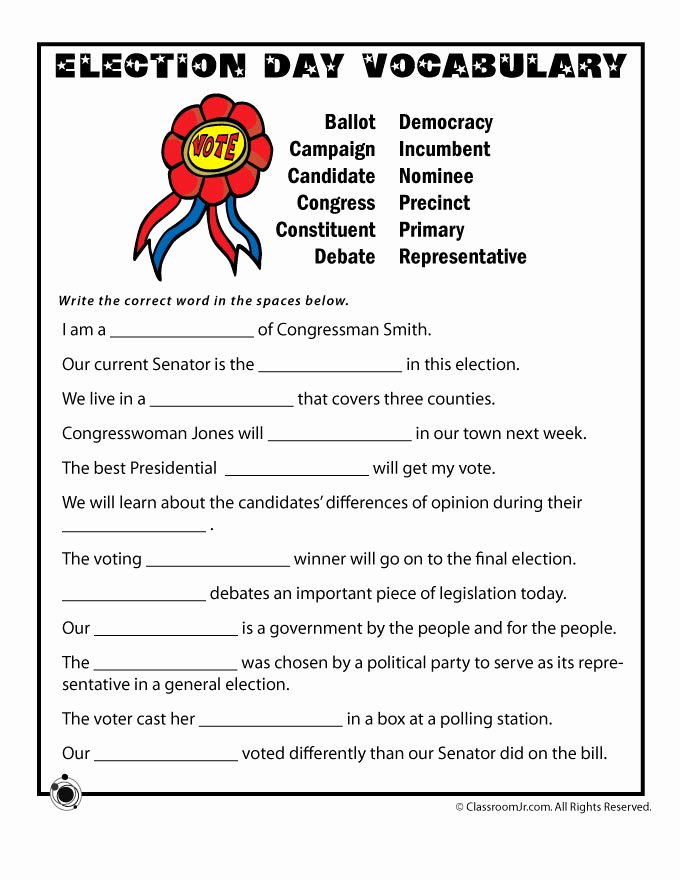 Election Day Worksheets Unique Election Day Vocabulary Worksheet