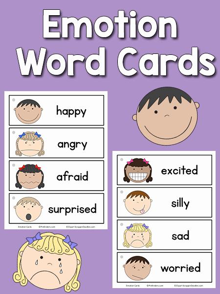 Emotions Worksheets for Preschoolers Beautiful Emotion Word Cards Prekinders