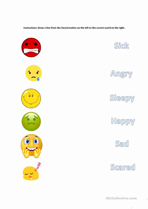 Emotions Worksheets for Preschoolers Inspirational Matching Emotions English Esl Worksheets for Distance