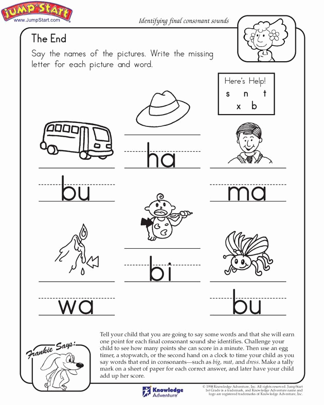 Ending sound Worksheets Free Awesome Ending sounds Jumpstart