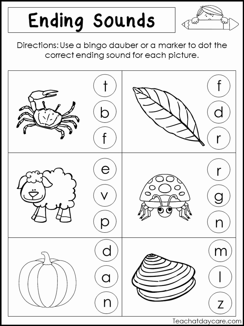 Ending sound Worksheets Free Beautiful 10 Printable Ending sounds Worksheets Preschool 1st Grade