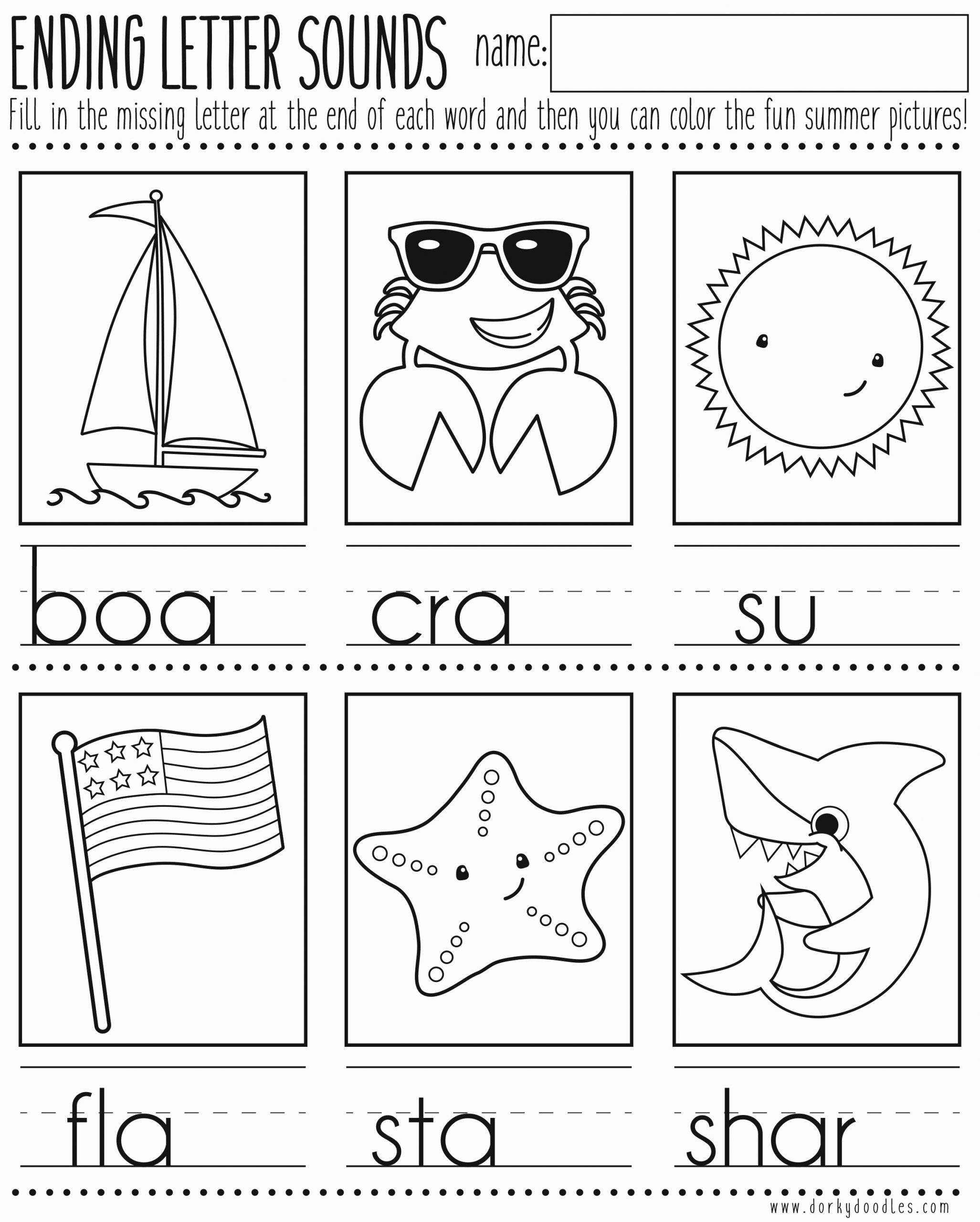 Ending sound Worksheets Free Beautiful Ending Letter sounds Printable Worksheet – Dorky Doodles
