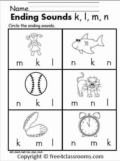Ending sound Worksheets Free Elegant Free Ending sounds Worksheet – K L M N – Free4classrooms