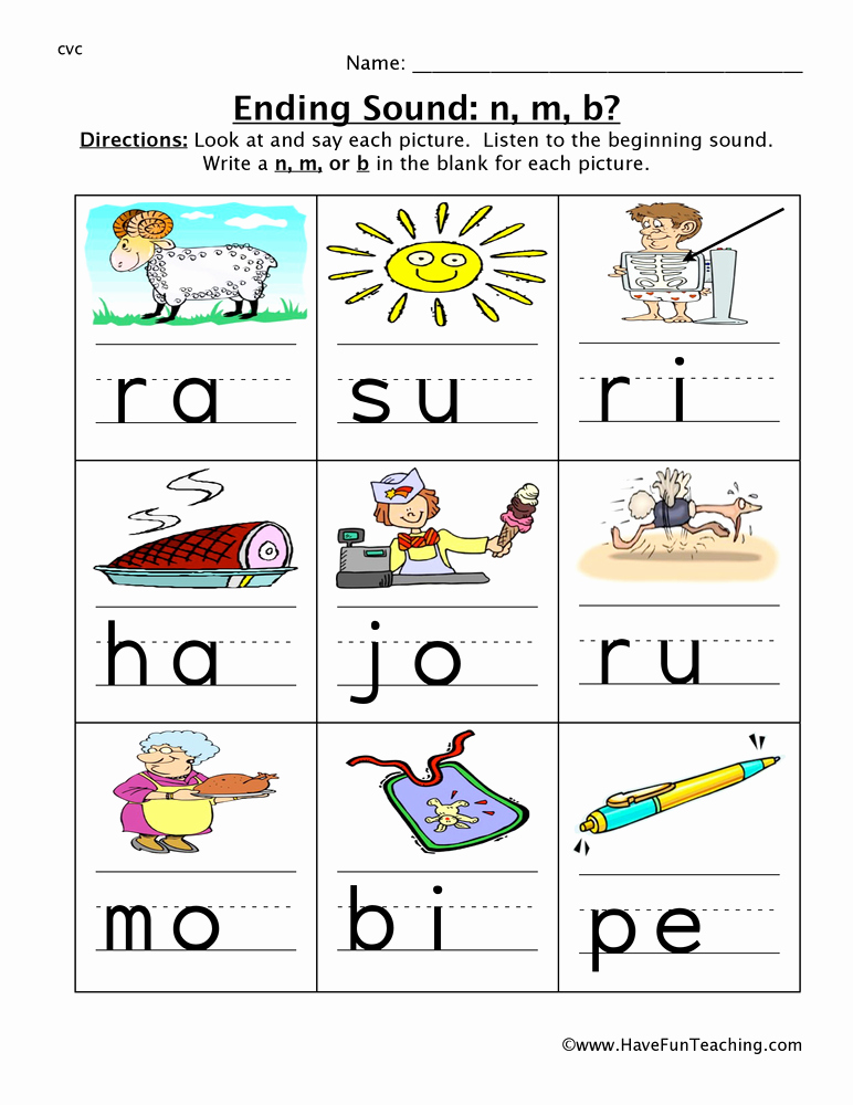 Ending sound Worksheets Free Fresh Ending sound N M B Worksheet