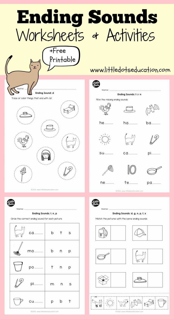 Ending sound Worksheets Free Fresh Ending sounds Worksheets for Kindergarten Ending sounds