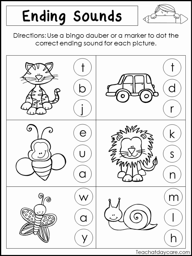 Ending sound Worksheets Free Lovely 10 Printable Ending sounds Worksheets Preschool 1st Grade