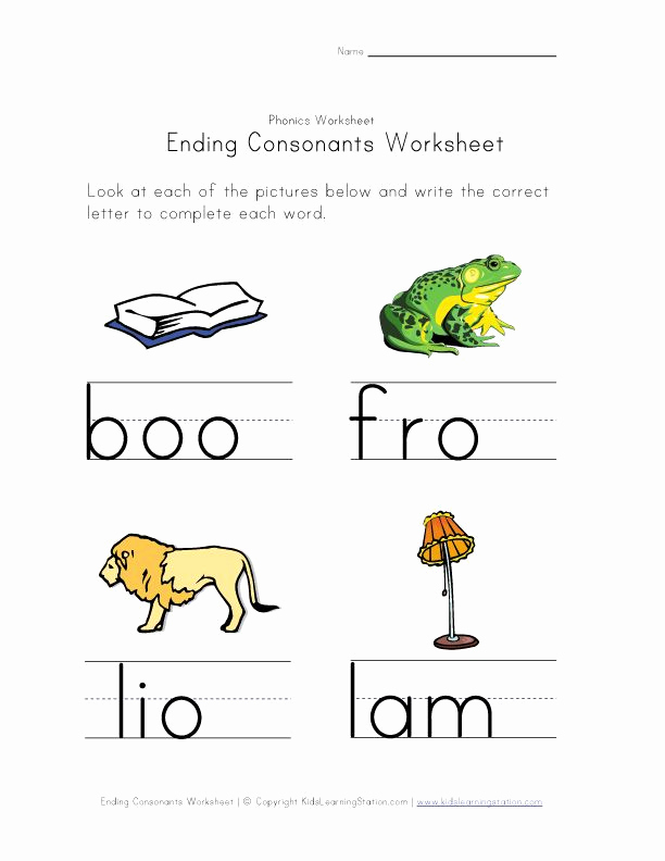 Ending sound Worksheets Free Lovely Ending Consonants Worksheet 4
