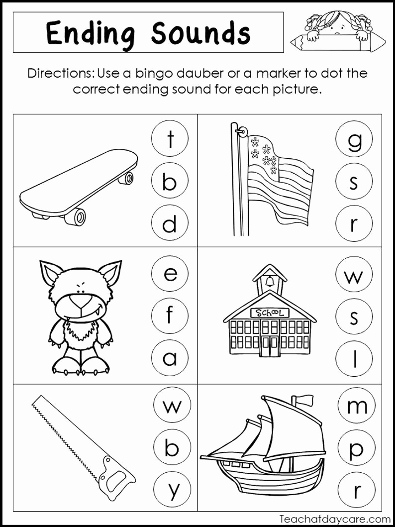 Ending sound Worksheets Free New 10 Printable Ending sounds Worksheets Preschool 1st Grade