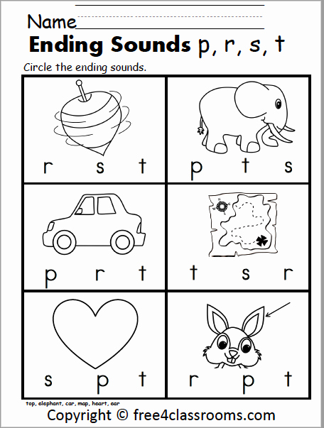 Ending sound Worksheets Free Unique Free Ending sounds Worksheet – P R S T – Free4classrooms