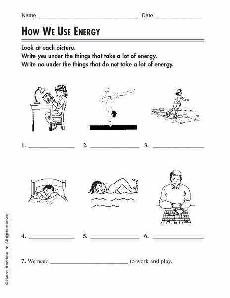 Energy 4th Grade Worksheets Best Of How We Use Energy Worksheet for 2nd 4th Grade