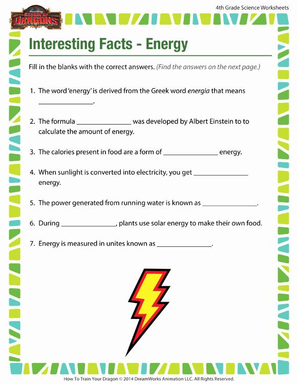 Energy 4th Grade Worksheets Inspirational Interesting Facts Energy View – 4th Grade Worksheets – sod