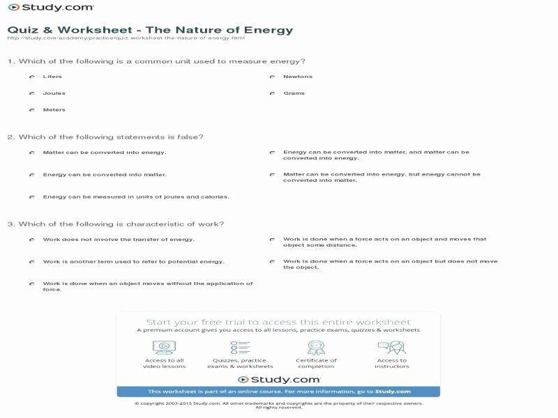 Energy Worksheets Middle School Pdf Inspirational Energy Conversion Worksheet Pdf Worksheet
