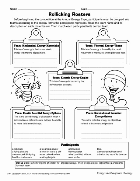 Energy Worksheets Middle School Pdf Lovely Energy Worksheet 7th Grade In 2020