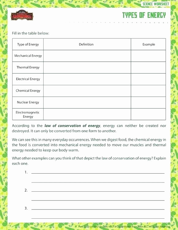 Energy Worksheets Middle School Pdf Luxury Law Conservation Energy Worksheets