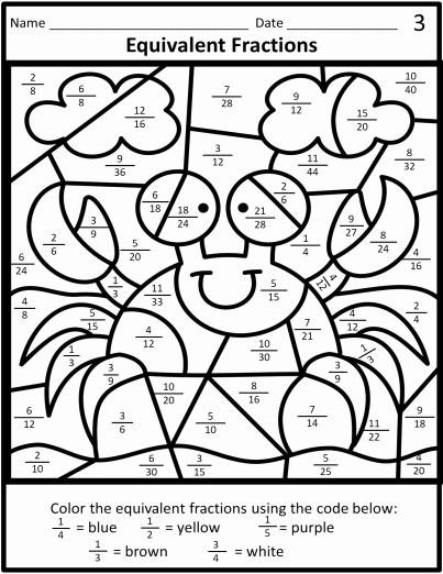 Equivalent Fractions Coloring Worksheet Fresh Equivalent Fractions Color by Code