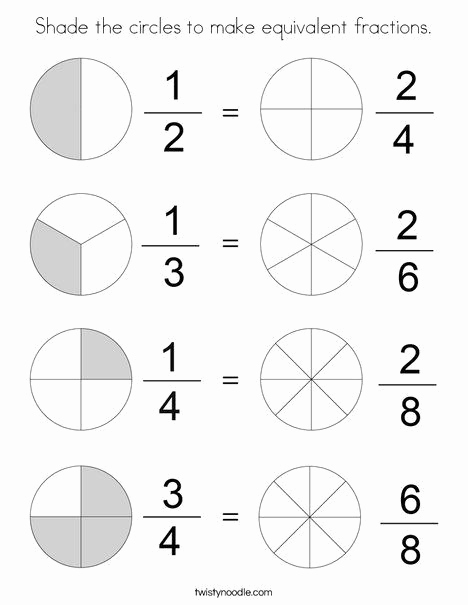Equivalent Fractions Coloring Worksheet Luxury Equivalent Fractions Coloring Worksheet Shade the Circles