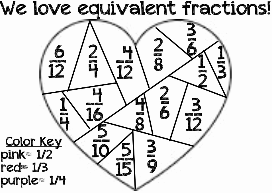 Equivalent Fractions Coloring Worksheet Luxury Equivalent Fractions Heart Coloring Page
