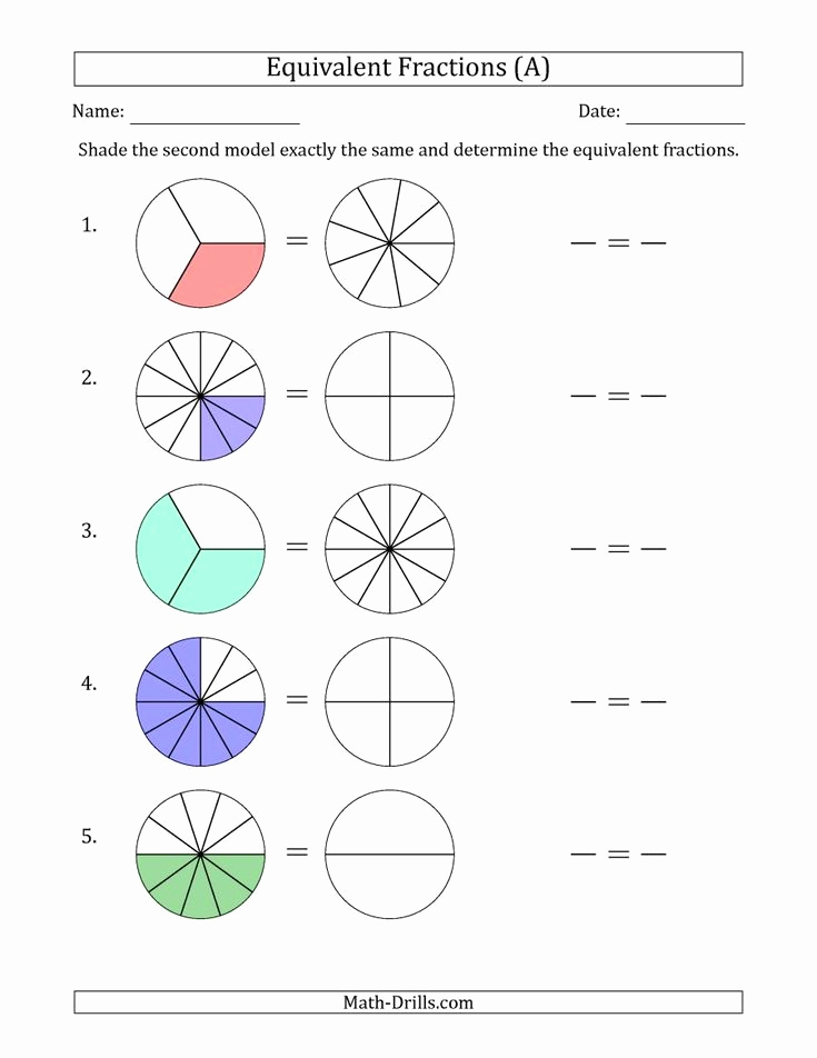 Equivalent Fractions Coloring Worksheet Unique the Equivalent Fractions Models A Math Worksheet From
