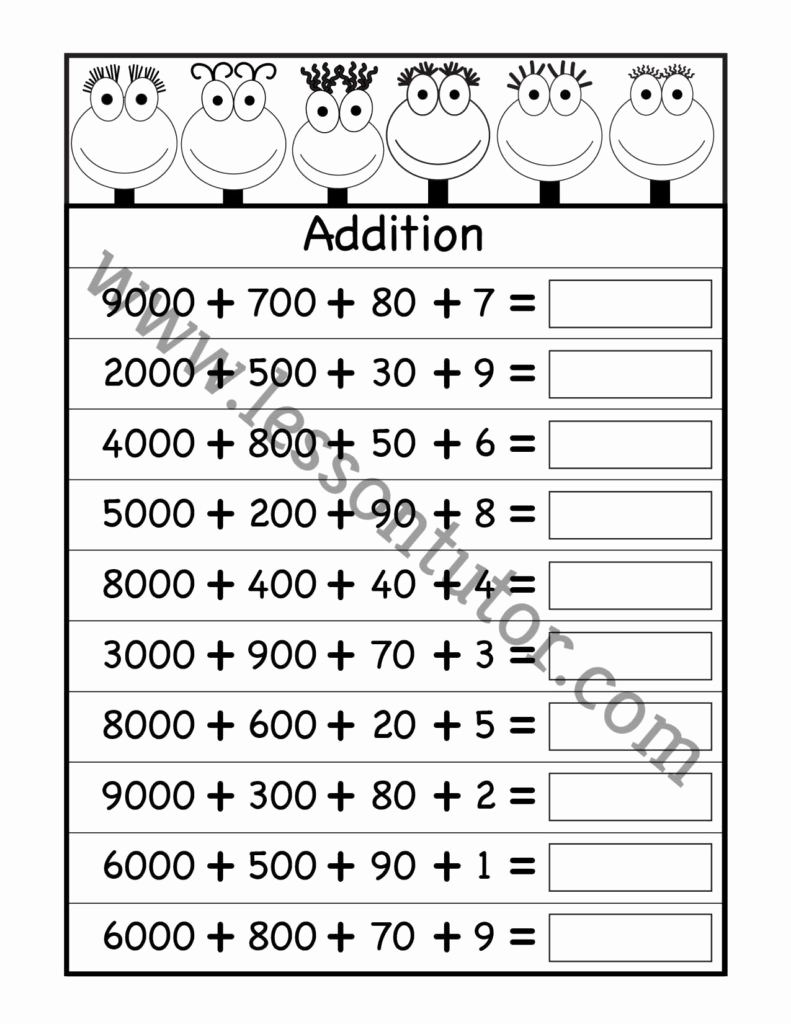 Expanded form Worksheets 1st Grade Best Of Expanded Addition Worksheet First Grade 6 Lesson Tutor