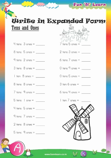 Expanded form Worksheets 1st Grade Best Of Worksheets for Class 1