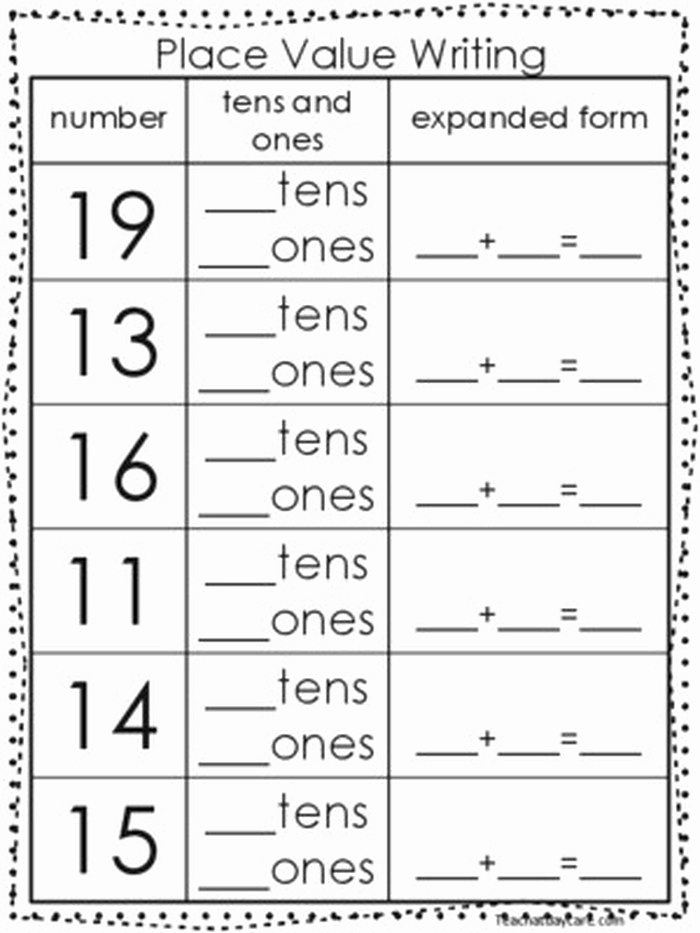 Expanded form Worksheets 1st Grade Luxury Tens and Es Worksheets Kindergarten Place Value Tens and