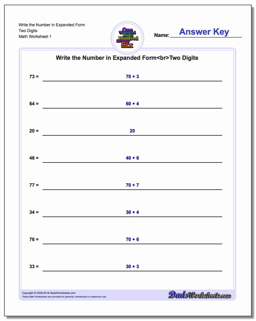 Expanded form Worksheets 1st Grade New Writing Numbers Backwards First Grade