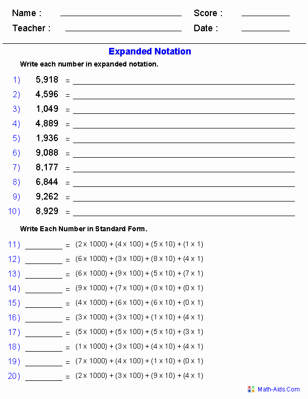 Expanded Notation Worksheets Luxury Expanded Notation Using Integers Place Value Worksheets
