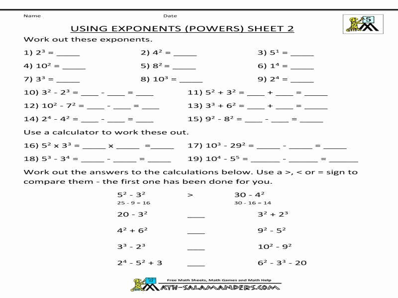 Exponents Worksheets 6th Grade Pdf Best Of Exponents Worksheets Pdf