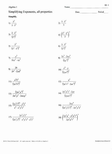 Exponents Worksheets 6th Grade Pdf Unique Multiplying Exponents Worksheets 6th Grade