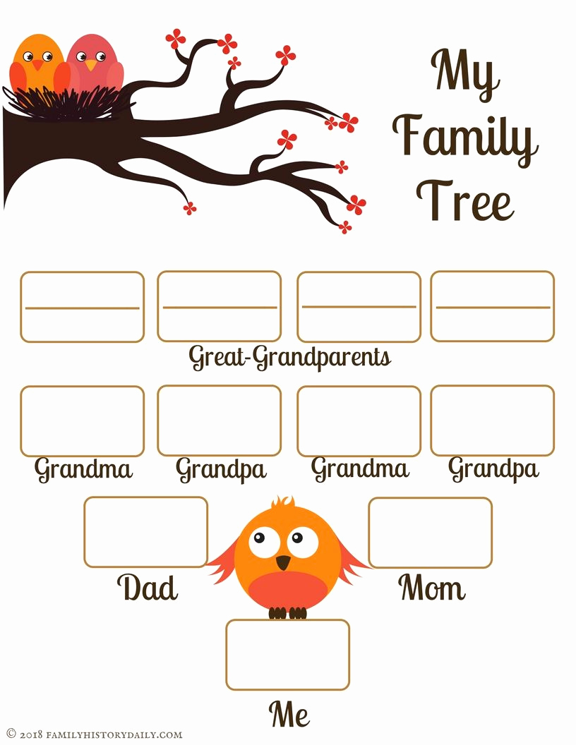 Family Tree Worksheets for Kids Awesome 4 Free Family Tree Templates for Genealogy Craft or