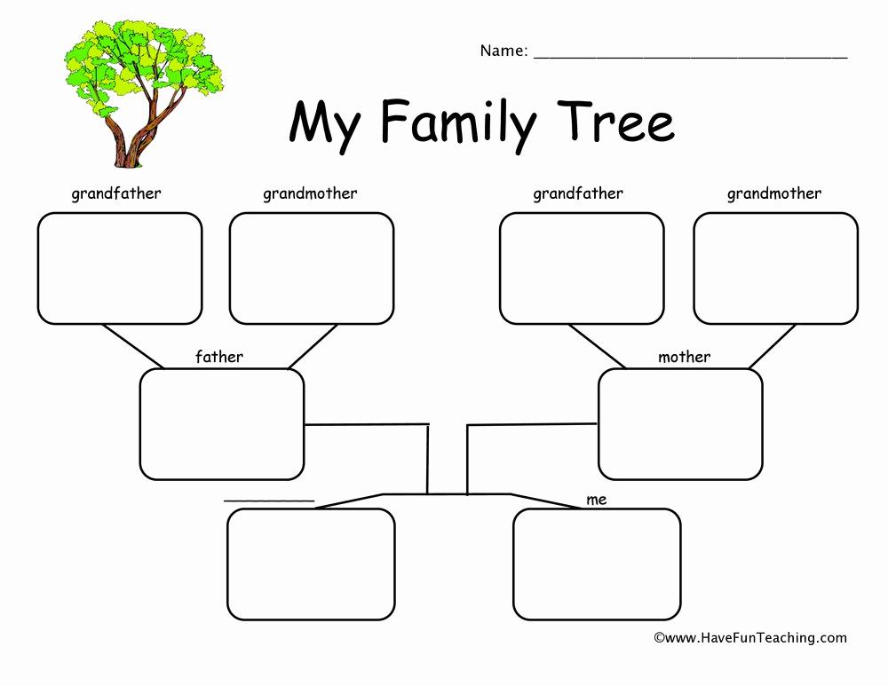 Family Tree Worksheets for Kids Best Of 2 Children Family Tree Worksheet
