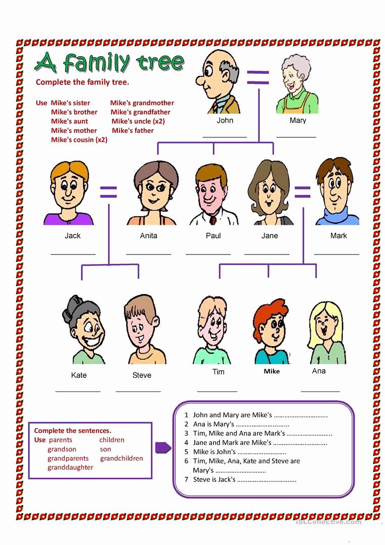 Family Tree Worksheets for Kids Elegant A Family Tree Worksheet Free Esl Printable Worksheets