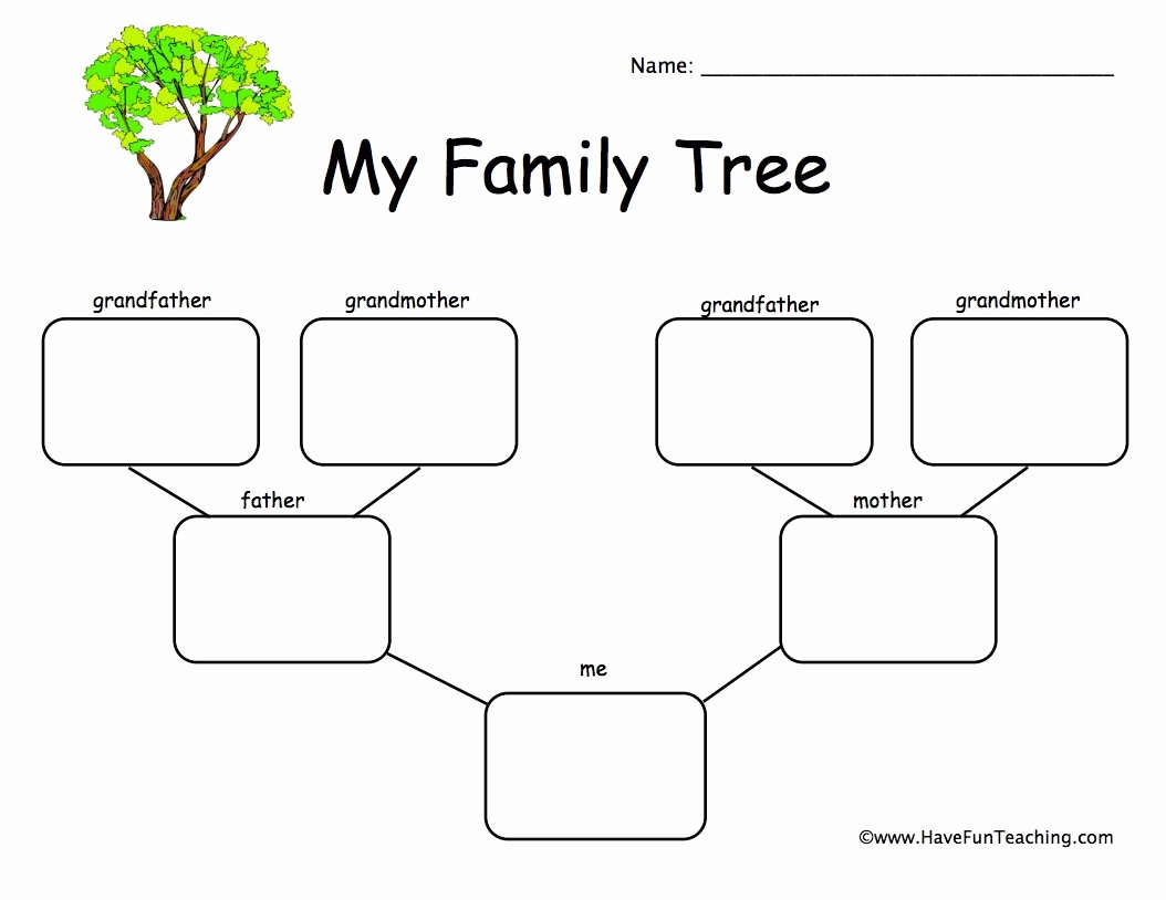 Family Tree Worksheets for Kids Luxury 1 Child Family Tree Worksheet • Have Fun Teaching