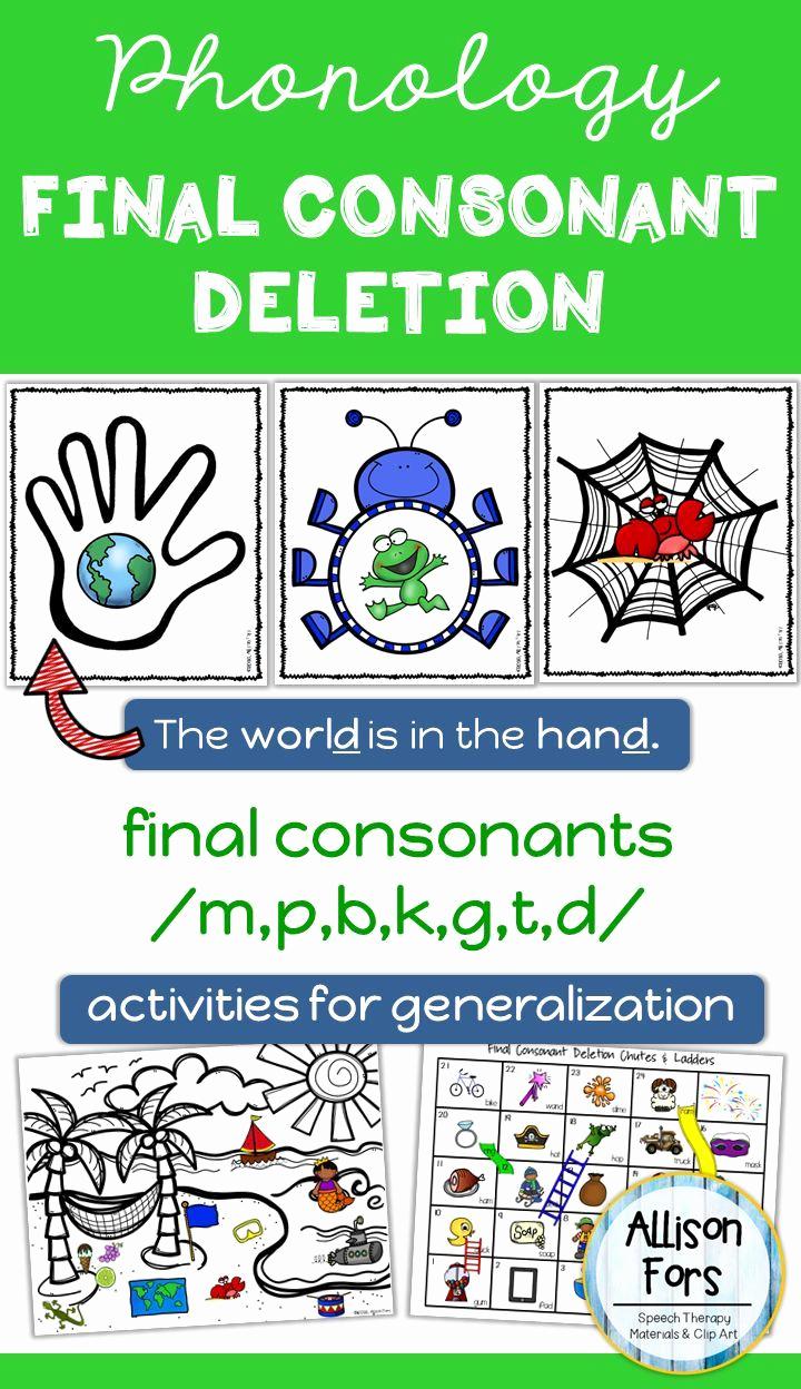 Final Consonant Deletion Worksheet Inspirational Final Consonant Deletion Multi Level Articulation