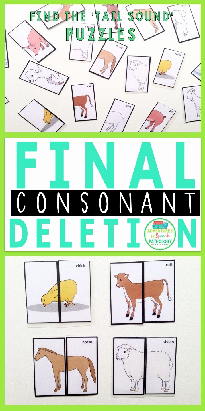 Final Consonant Deletion Worksheet Luxury Final Consonant Deletion Tail sound Packet