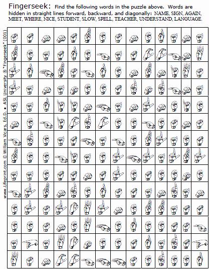 "Fingerspelling Practice Worksheets Inspirational ""fingerseeks"" American Sign Language asl Word Search Game"