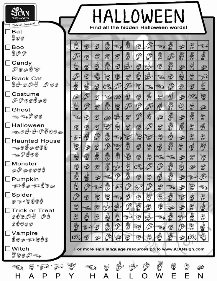 Fingerspelling Practice Worksheets Unique Fun Halloween Word Search Great Way to Practice Your Sign