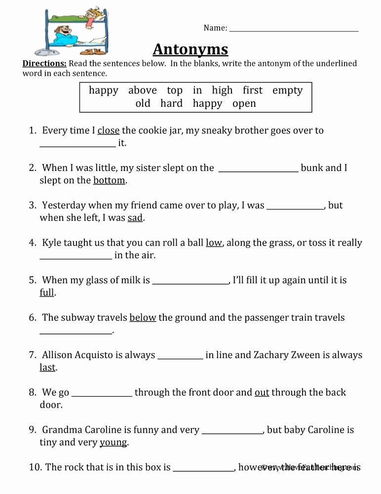 First Grade Antonyms Worksheet Beautiful Antonym Fill In the Blank Worksheet • Have Fun Teaching