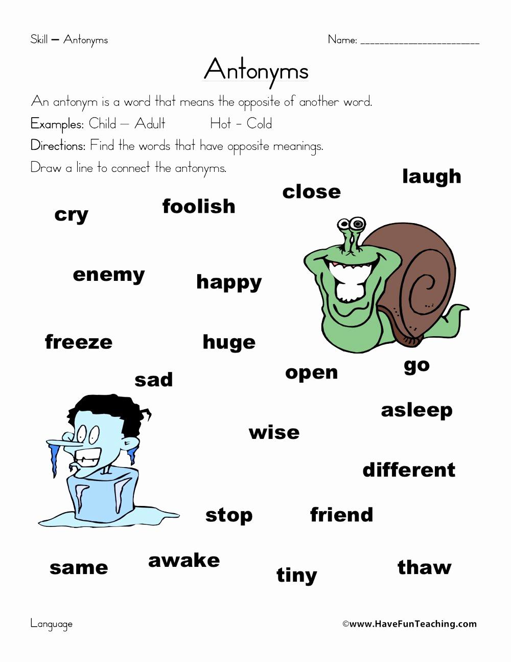 First Grade Antonyms Worksheet Best Of Antonym Worksheet Have Fun Teaching