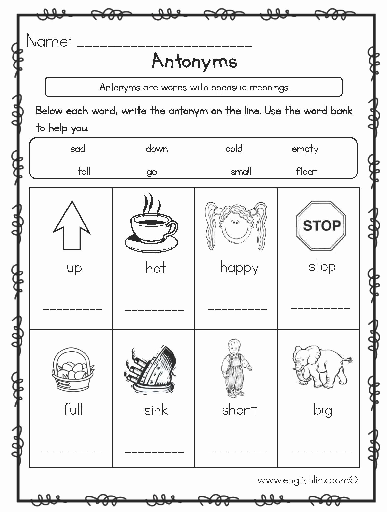 First Grade Antonyms Worksheet Best Of Antonyms Worksheets