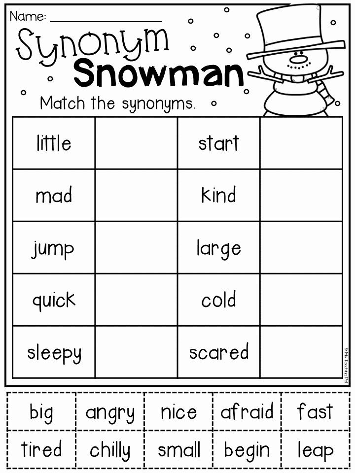 First Grade Antonyms Worksheet Fresh Winter Math and Literacy Worksheet Pack First Grade