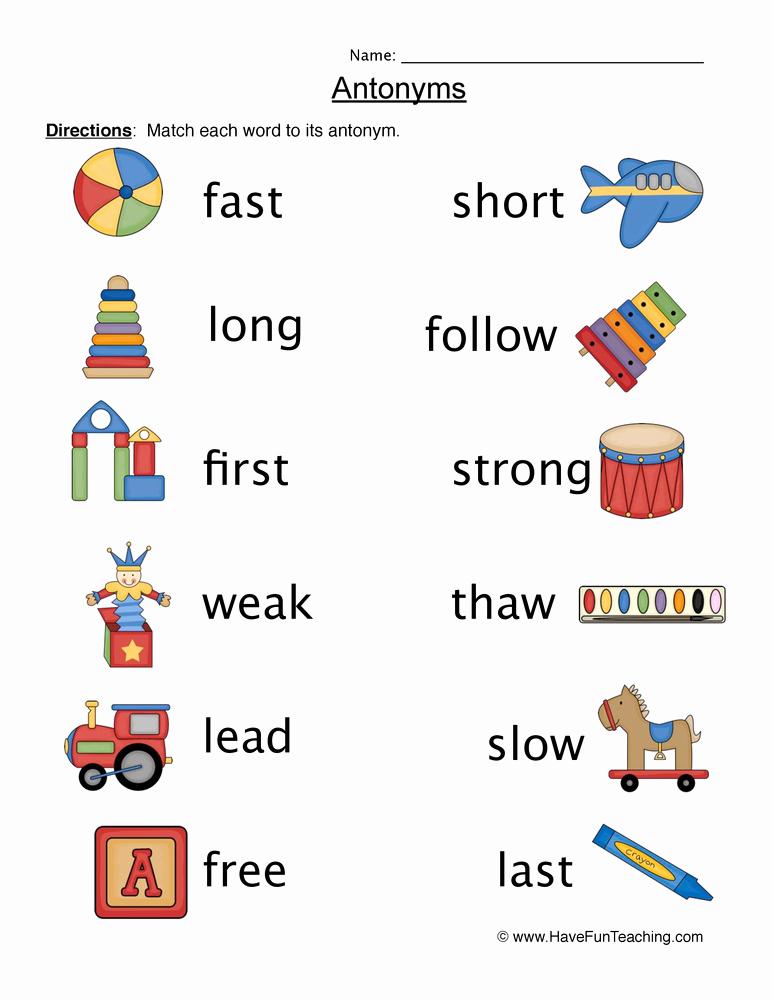 First Grade Antonyms Worksheet Inspirational Antonym Worksheets