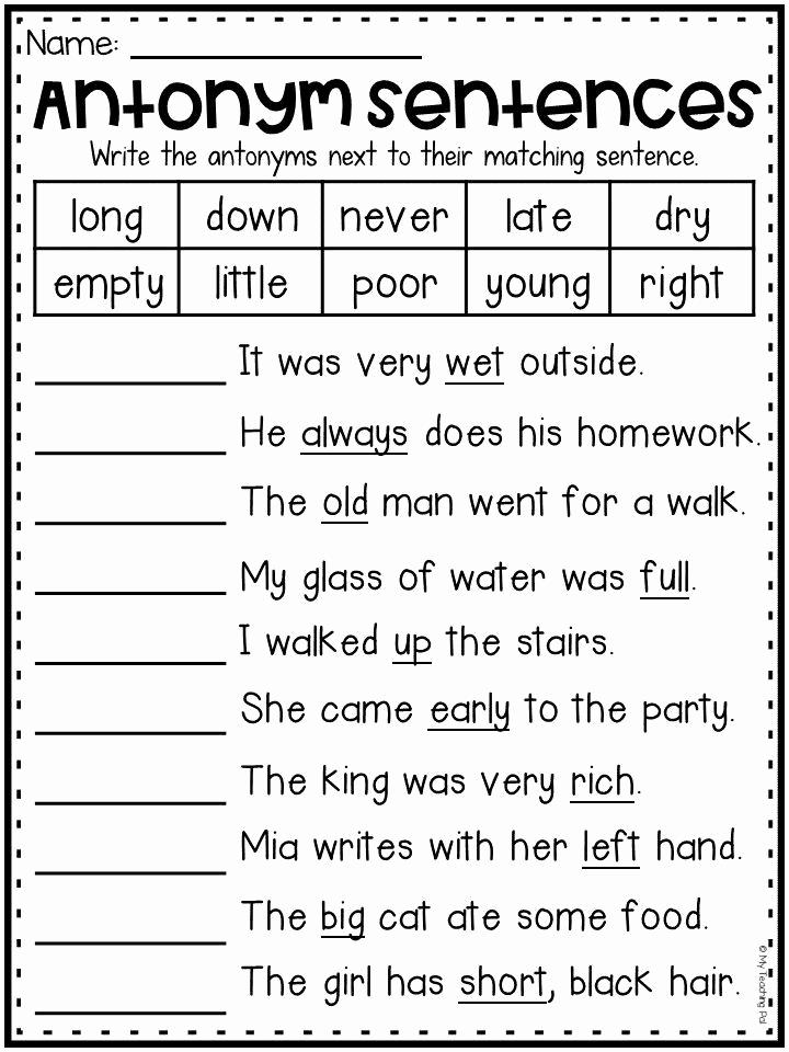 First Grade Antonyms Worksheet Inspirational Antonyms Worksheet for First Grade and Second Grade