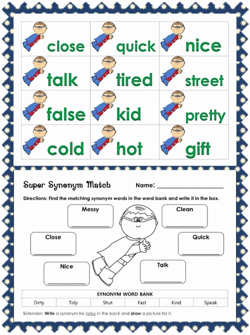 First Grade Antonyms Worksheet Unique Synonym Worksheets for 1st Grade