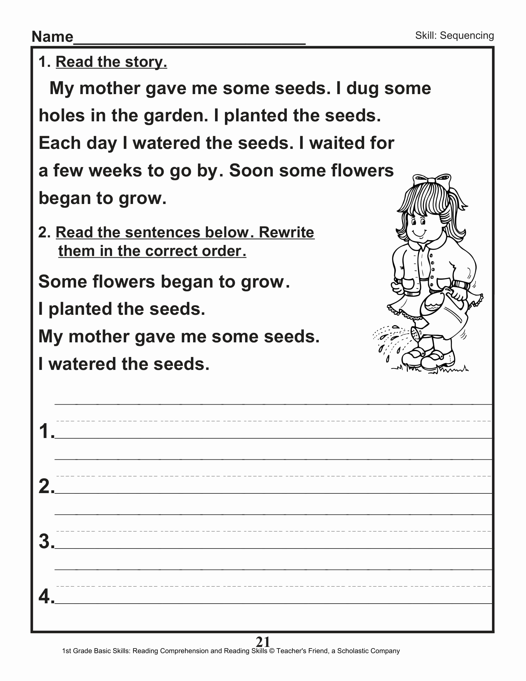 First Grade Sequencing Worksheets Awesome 40 Scholastic 1st Grade Reading Prehension Skills